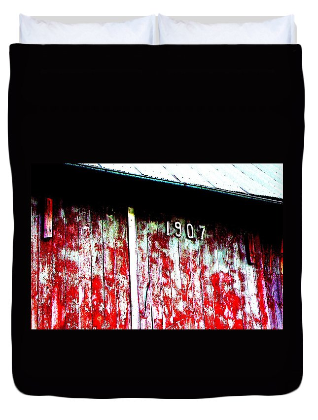 Red Barn Duvet Cover featuring the photograph 1907 by Mykul Anjelo
