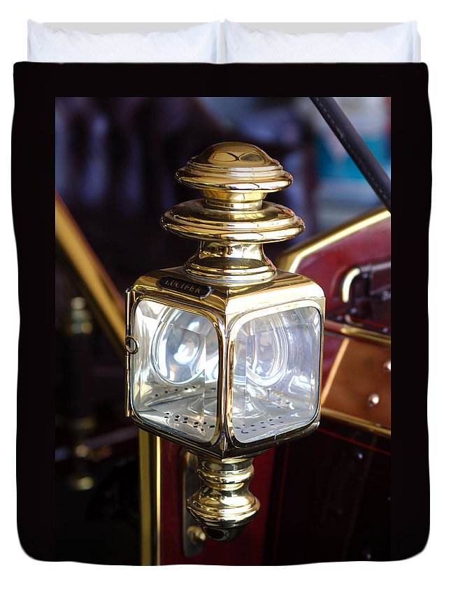 1907 Panhard Et Levassor Lamp Duvet Cover featuring the photograph 1907 Panhard Et Levassor Lamp by Jill Reger