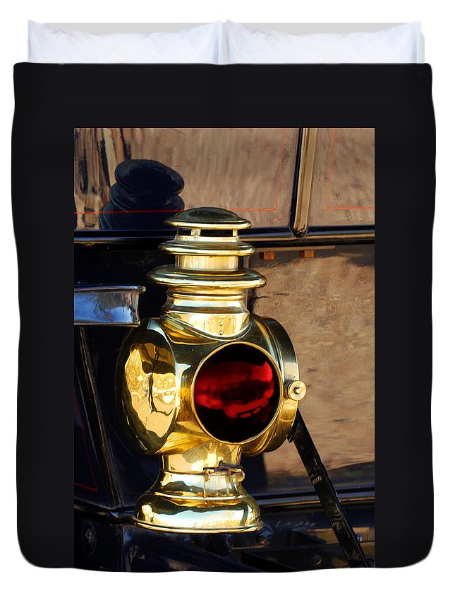 1910 Pope Hartford Model T Lamp Duvet Cover featuring the photograph 1910 Pope Hartford Model T Lamp by Jill Reger