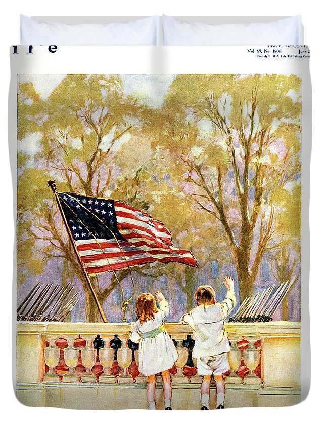Vertical Duvet Cover featuring the painting 1910s Yankee Doodle Boy And Girl Waving by Vintage Images