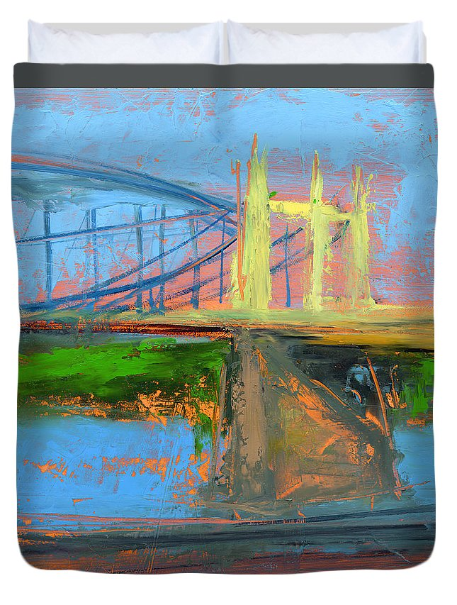 Bridges Duvet Cover featuring the painting Untitled 158 by Chris N Rohrbach