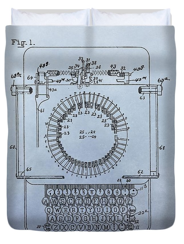1920 Typewriter Patent Duvet Cover featuring the digital art 1920 Typewriter Patent by Dan Sproul