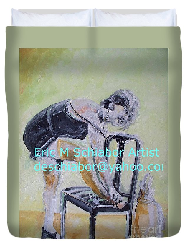1920 Duvet Cover featuring the painting 1920s Girl by Eric Schiabor