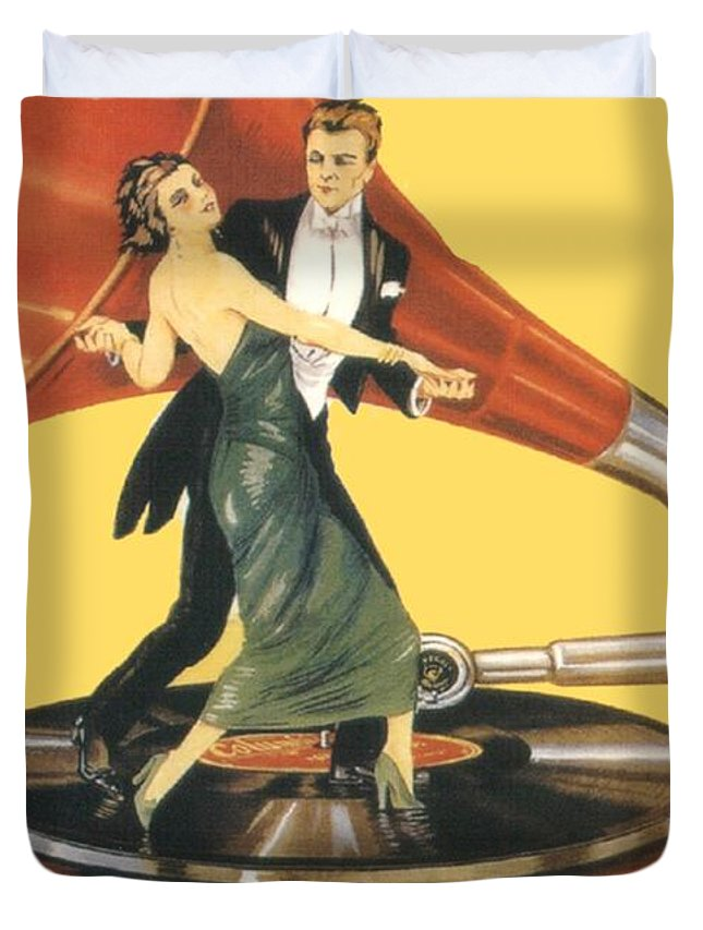 Italian Duvet Cover featuring the digital art 1922 - Columbia Gramophone Company Italian Advertising Poster - Color by John Madison