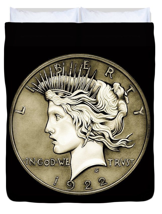 Coin Duvet Cover featuring the drawing 1922 Circulated Peace Dollar by Fred Larucci