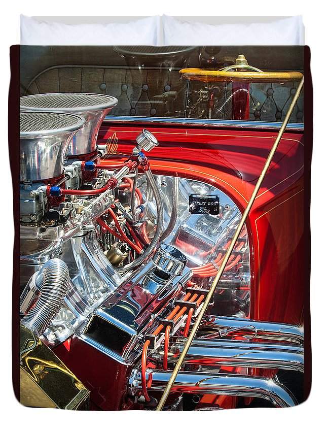 1923 Ford T-bucket Engine Duvet Cover featuring the photograph 1923 Ford T-bucket by Jill Reger