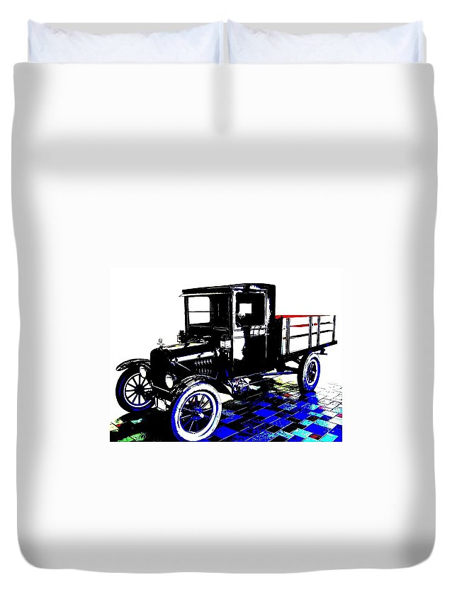 1926 Ford Model T Stakebed Duvet Cover featuring the digital art 1926 Ford Model T Stakebed by Will Borden