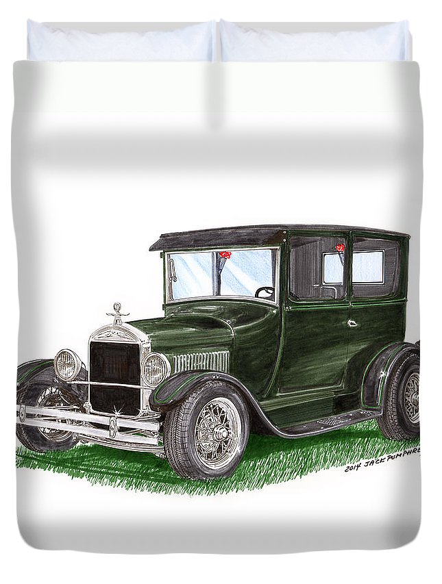 The Ford Model T Duvet Cover featuring the painting 1926 Ford Tudor Sedan Street Rod by Jack Pumphrey