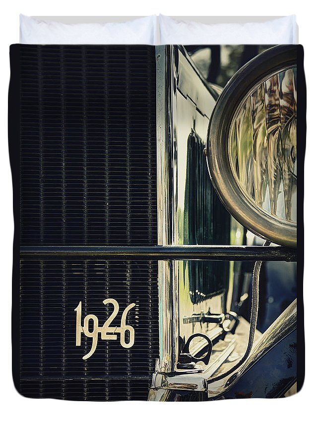 Ford; Car; Detail; Ornament; Grill; Headlight; Light; Lamp; Chrome; Auto; Automobile; Transportation; Decor; Reflection; Close Up; Model T; 1926; 1920s; Vintage; Shiny; Glare; Antique; Turn Of The Century; Early 1900s; 20s; Vehicle Duvet Cover featuring the photograph 1926 by Margie Hurwich