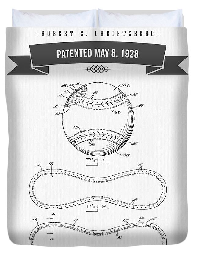 Baseball Duvet Cover featuring the digital art 1928 Baseball Patent Drawing by Aged Pixel