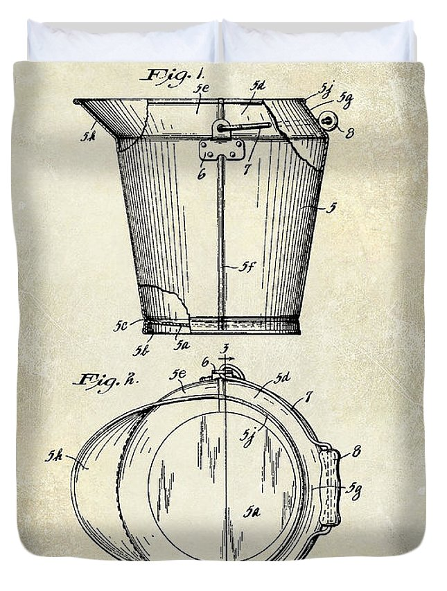 1928 Milk Pail Patent Drawing Duvet Cover featuring the photograph 1928 Milk Pail Patent Drawing by Jon Neidert