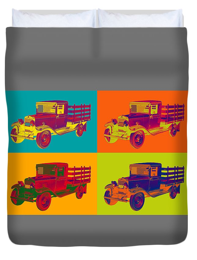 1929 Duvet Cover featuring the photograph 1929 Blue Chevy Truck 1 Ton Pop Art by Keith Webber Jr