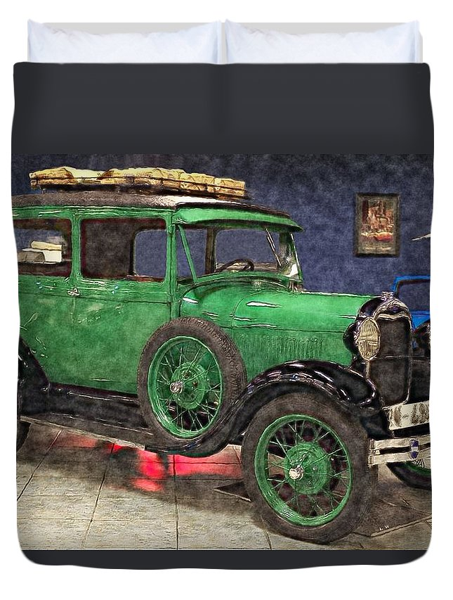 1929 Ford Model A Duvet Cover featuring the painting 1929 Ford Model A By Liane Wright by L Wright