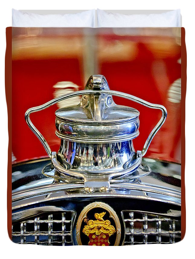 1929 Packard 8 Convertible Coupe Duvet Cover featuring the photograph 1929 Packard 8 Hood Ornament 2 by Jill Reger