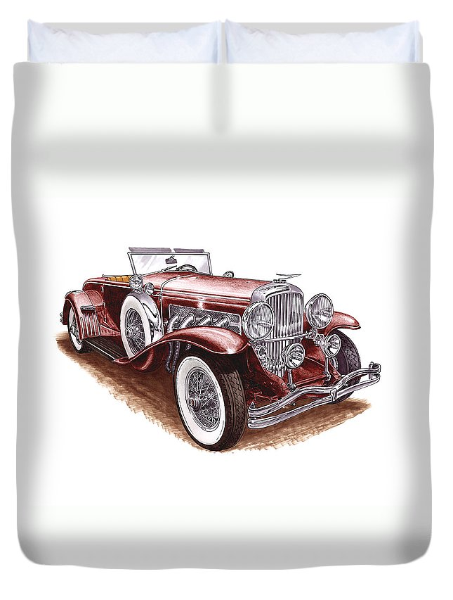 An Art Print Using Colored Pencils Of A 1930 Duesenberh Model J Roadster Coupe Duvet Cover featuring the mixed media 1930 Dusenberg Model J by Jack Pumphrey