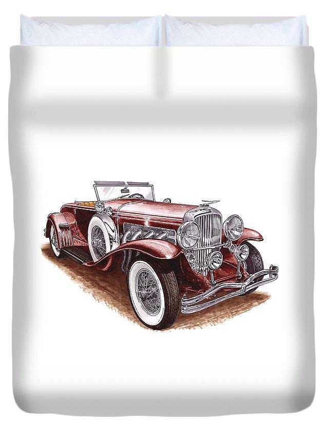 An Art Print Using Colored Pencils Of A 1930 Duesenberh Model J Roadster Coupe Duvet Cover featuring the mixed media 1930 Dusenberg Model J by Jack Pumphrey