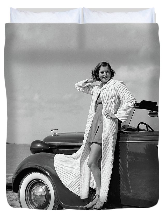 Photography Duvet Cover featuring the photograph 1930s 1940s Smiling Woman Wearing by Vintage Images