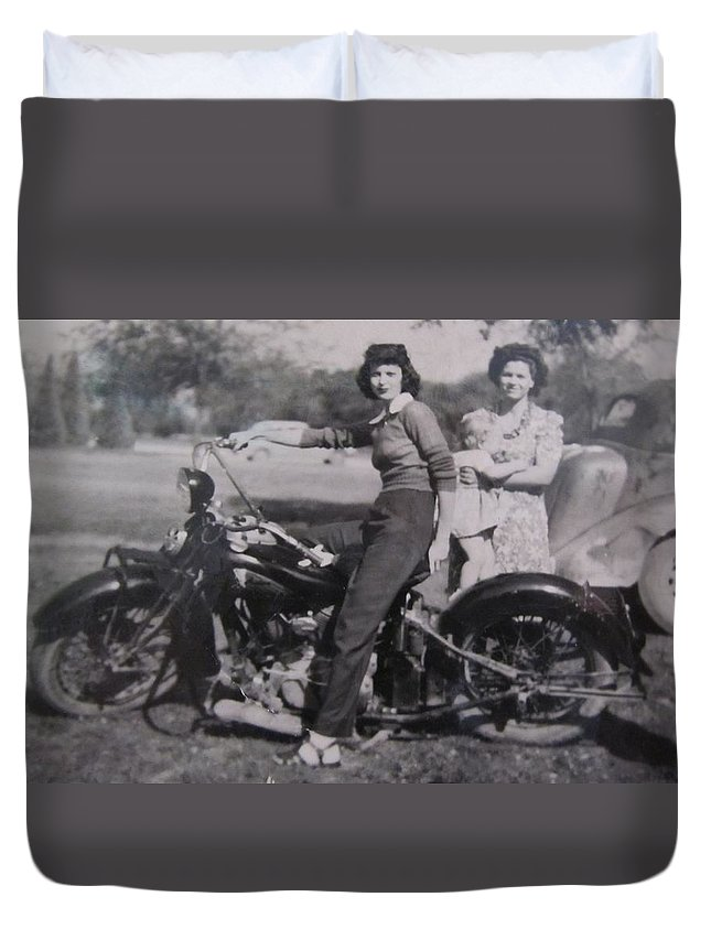 Triumph Motorcycles Duvet Cover featuring the photograph 1930's Indian Motorcycle Mama by Donna Wilson