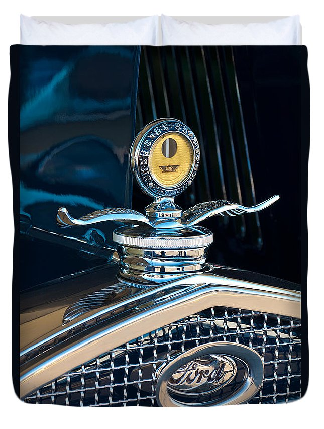 1931 Model A Ford Deluxe Roadster Duvet Cover featuring the photograph 1931 Model A Ford Deluxe Roadster Hood Ornament by Jill Reger