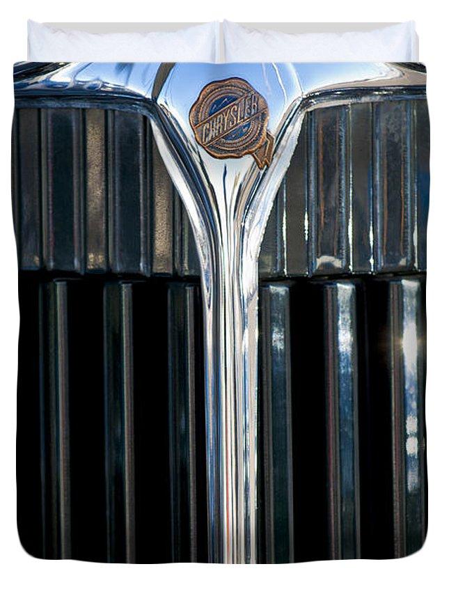 1932 Chrysler Victoria Duvet Cover featuring the photograph 1932 Chrysler Hood Ornament by Jill Reger