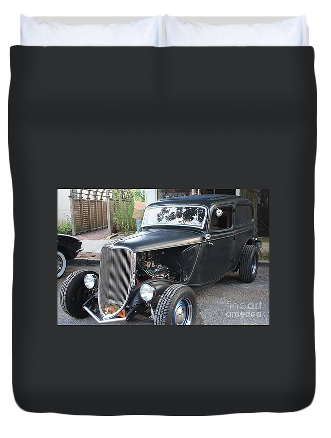 1933 Ford Two Door Sedan Front And Side View Duvet Cover featuring the photograph 1933 Ford Two Door Sedan Front And Side View by John Telfer