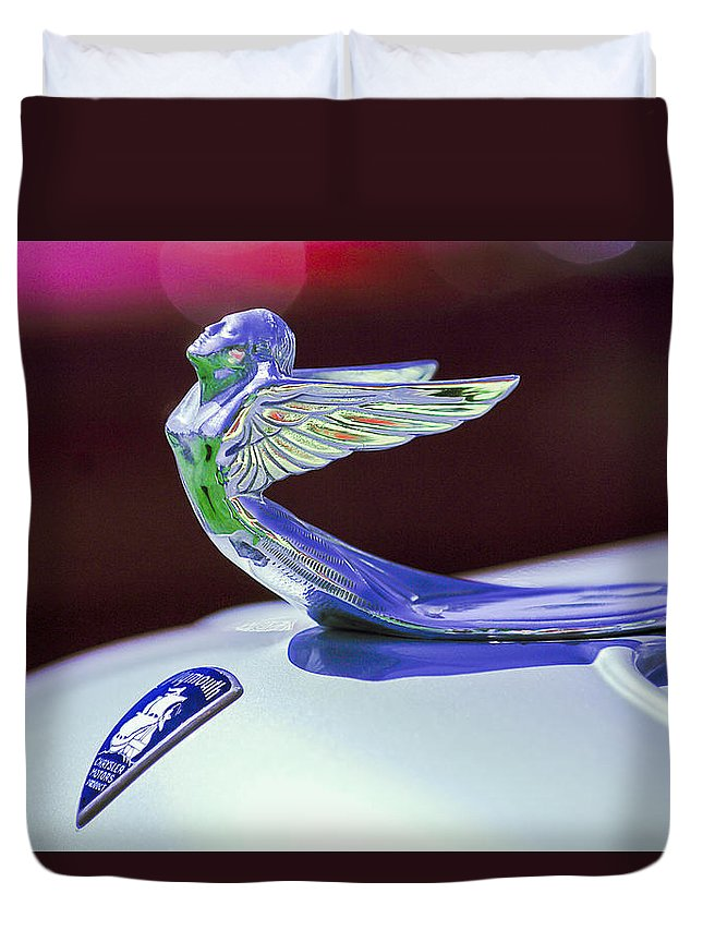 1933 Plymouth Hood Ornament Duvet Cover featuring the photograph 1933 Plymouth Hood Ornament -0121c by Jill Reger