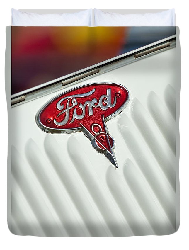 1934 Ford Duvet Cover featuring the photograph 1934 Ford Emblem by Jill Reger