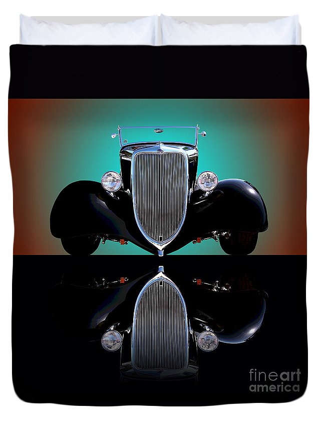Car Duvet Cover featuring the photograph 1934 Ford Phaeton Convertible by Jim Carrell