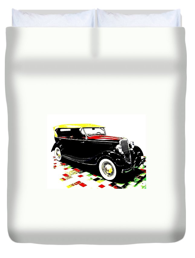 1934 Ford Phaeton V8 Duvet Cover featuring the digital art 1934 Ford Phaeton V8 by Will Borden