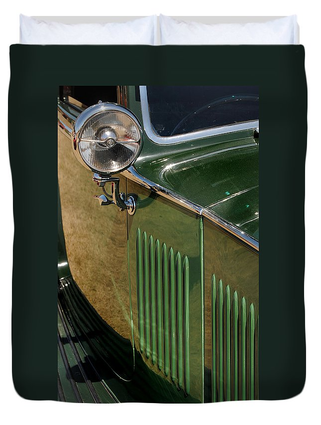 Rolls Duvet Cover featuring the photograph 1934 Green Rolls by Skip Willits