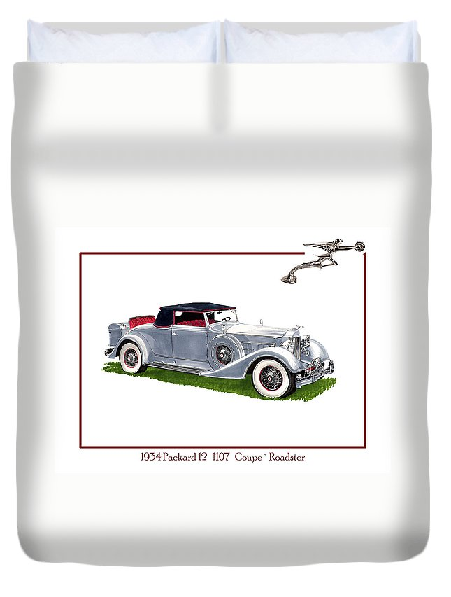 Watercolor Art Of A 1934 Packard V-12 1107 Coupe Roadster Duvet Cover featuring the painting 1934 Packard Twelve 1107 Coupe by Jack Pumphrey