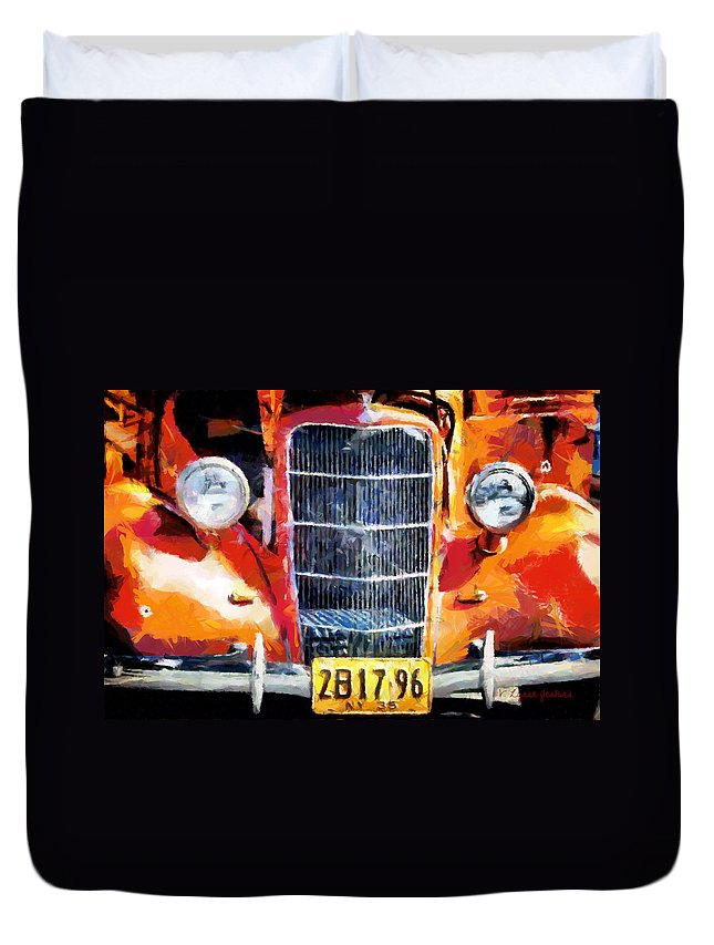 Ford Duvet Cover featuring the painting 1935 Ford Coupe by Lynne Jenkins