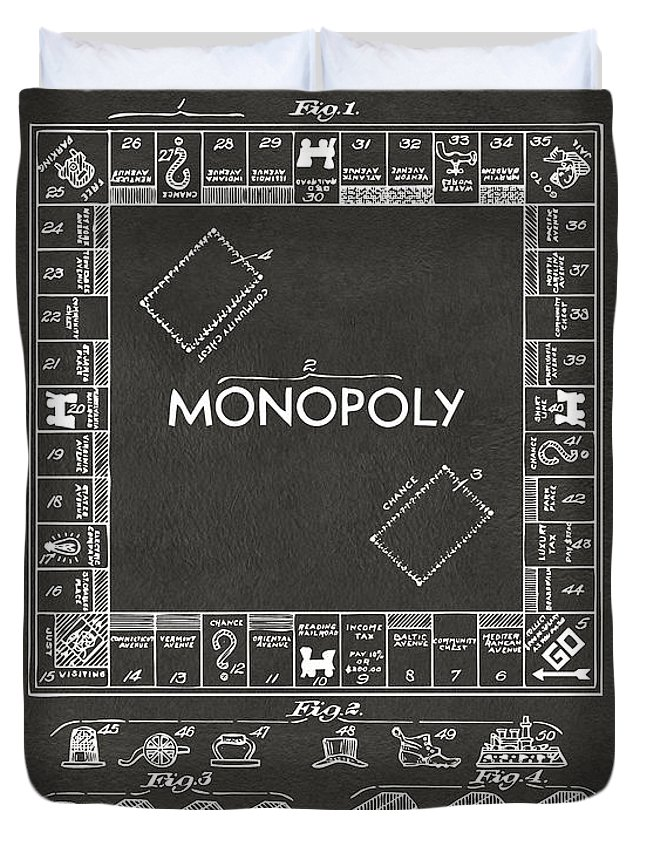 Monopoly Duvet Cover featuring the digital art 1935 Monopoly Game Board Patent Artwork - Gray by Nikki Marie Smith