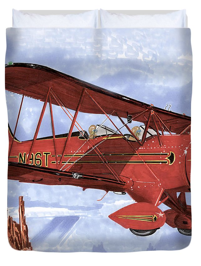 1935 Waco Bi-plane. Framed Prints Of Bi-wing Aircraft. Post Cards Of Old Airplanes. Framed Prints Of Utah Duvet Cover featuring the painting Monument Valley Bi-plane by Jack Pumphrey