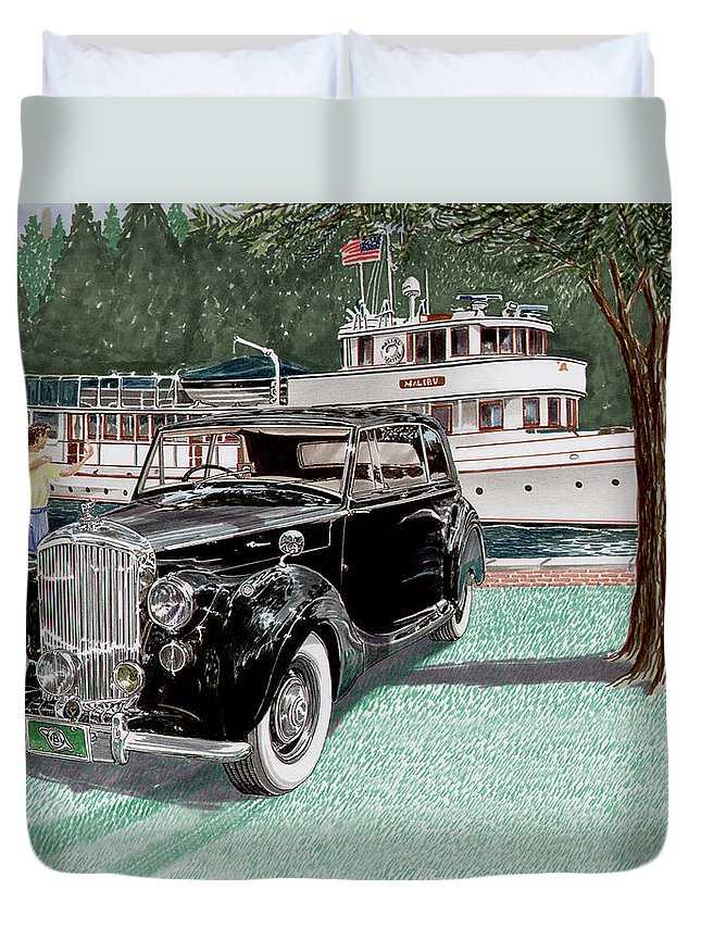 Classic 1936 Bentley British Car Art Duvet Cover featuring the painting Bentley Waving To Malibu by Jack Pumphrey