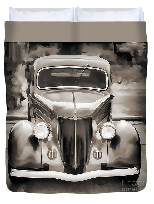 1936 Ford; 1936 Ford Automobile; Ford; Roadster Duvet Cover featuring the photograph 1936 Ford Roadster Classic Car Or Automobile Painting In Sepia 3120.01 by M K Miller