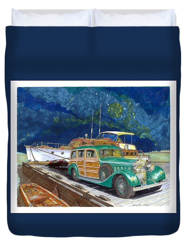 Classic Car Art Duvet Cover featuring the painting 1936 Hispano Suiza Shooting Brake by Jack Pumphrey