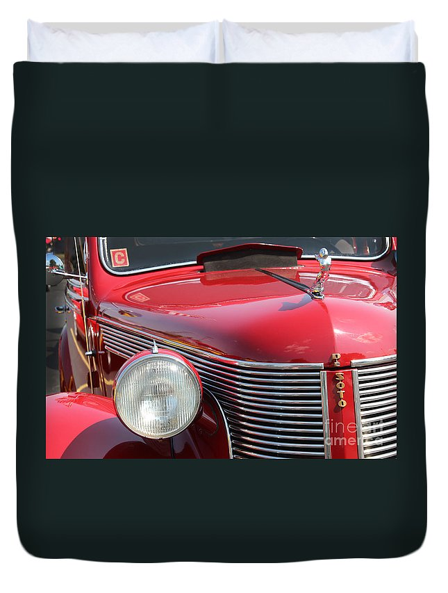 1937 Duvet Cover featuring the photograph 1937 Desoto Front Grill And Head Light-7289 by Gary Gingrich Galleries