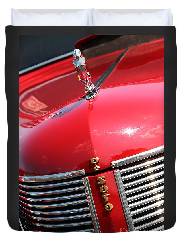 1937 Duvet Cover featuring the photograph 1937 Desoto Front Grill by Gary Gingrich Galleries