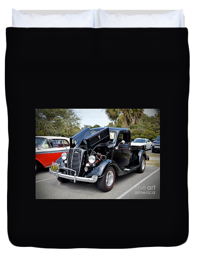 Cars Duvet Cover featuring the photograph 1937 Ford Pick Up by Kathy Baccari