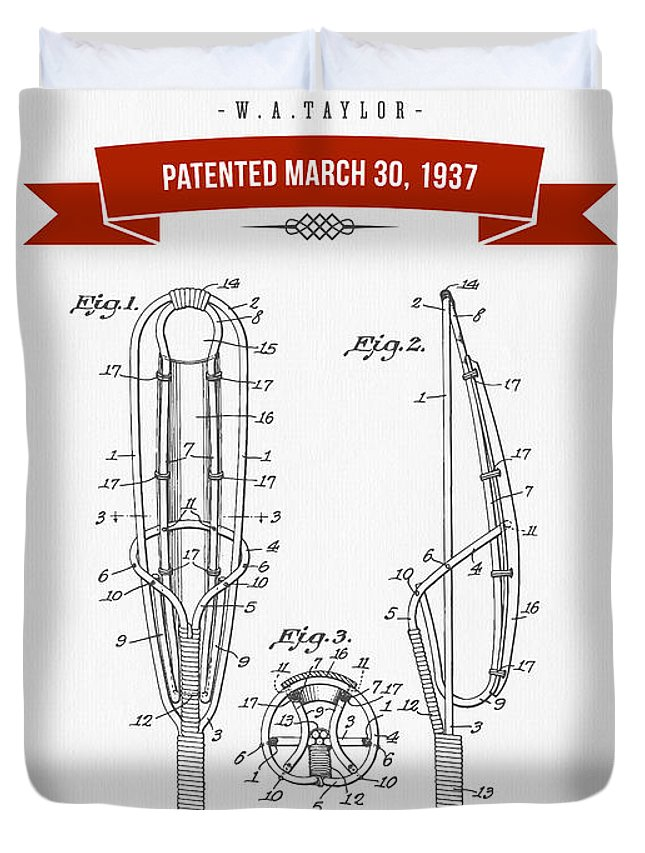 Lacrosse Duvet Cover featuring the drawing 1937 Game Device Patent Drawing - Retro Red by Aged Pixel