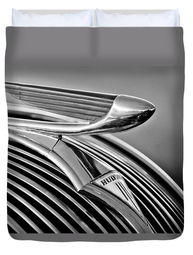 1937 Hudson Terraplane Sedan Duvet Cover featuring the photograph 1937 Hudson Terraplane Sedan Hood Ornament 3 by Jill Reger