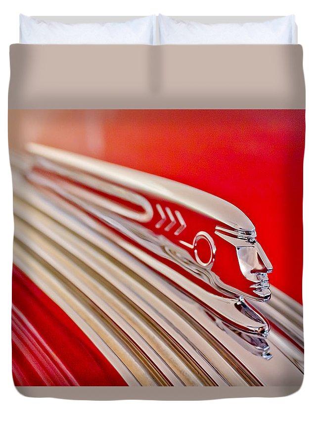 1937 Pontiac Chief Custom Duvet Cover featuring the photograph 1937 Pontiac Chief Custom Hood Ornament by Jill Reger
