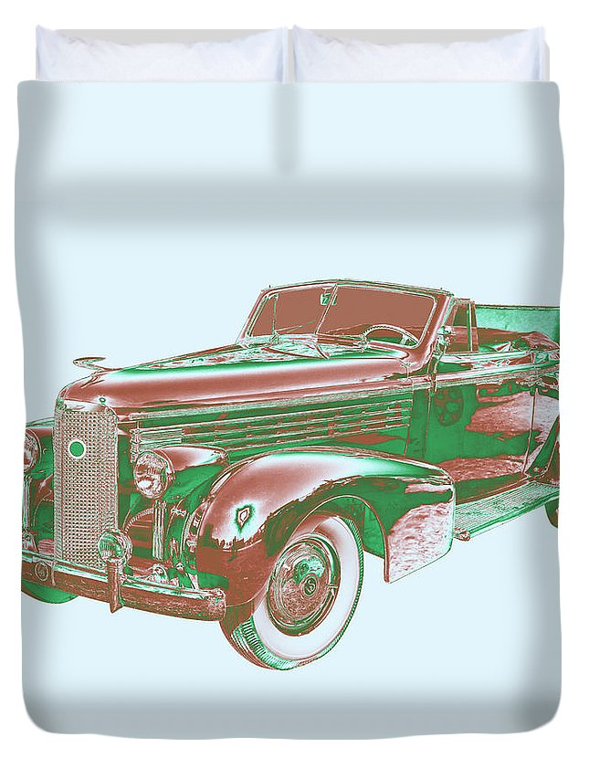 1938 Cadillac Lasalle Duvet Cover featuring the photograph 1938 Cadillac Lasalle Antique Pop Art by Keith Webber Jr