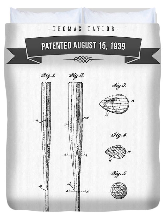 Baseball Duvet Cover featuring the digital art 1939 Baseball Bat Patent Drawing by Aged Pixel