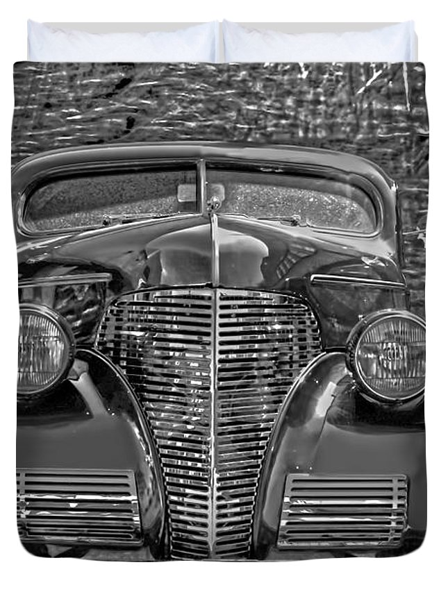 1939 Chevy Duvet Cover featuring the photograph 1939 Chevy Immenent Front Bw Art by Lesa Fine