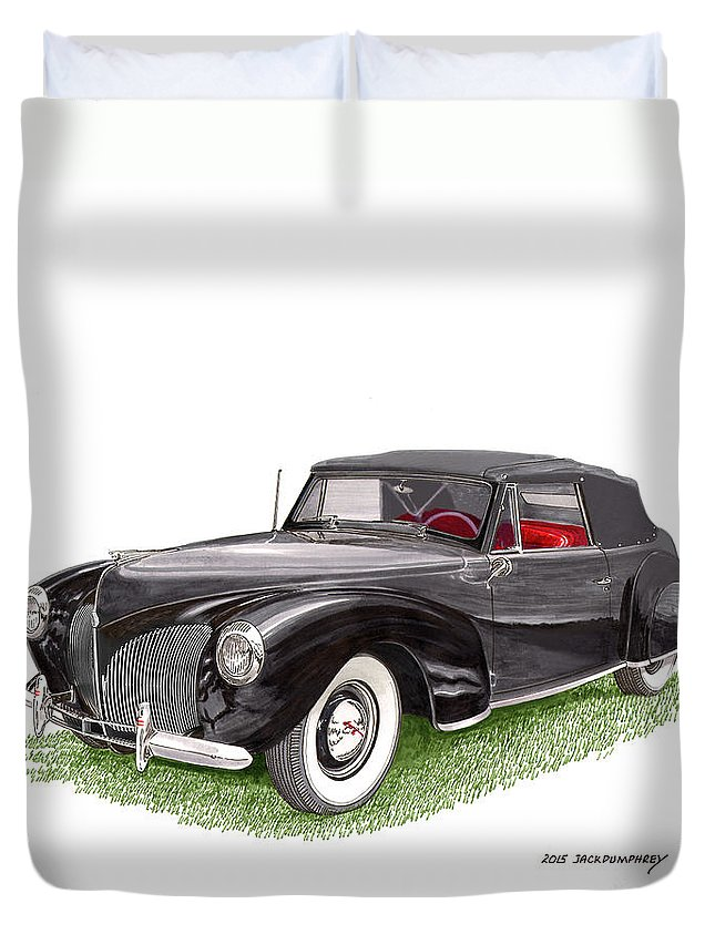A Gift Of Art Will Never Be Returned Because It Does Not Fit Duvet Cover featuring the painting Lincoln Zephyr Cabriolet by Jack Pumphrey