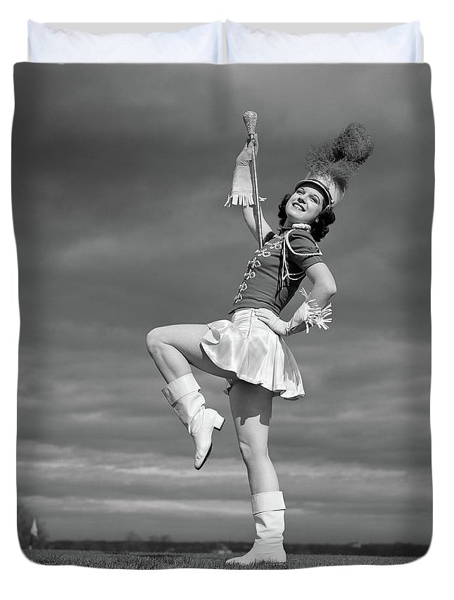 Photography Duvet Cover featuring the photograph 1940s Woman Drum Major In Majorette by Vintage Images