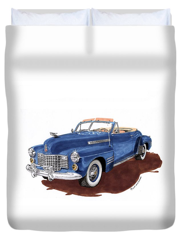 Classic Car Paintings Duvet Cover featuring the painting 1941 Cadillac Series 62 Convertible by Jack Pumphrey