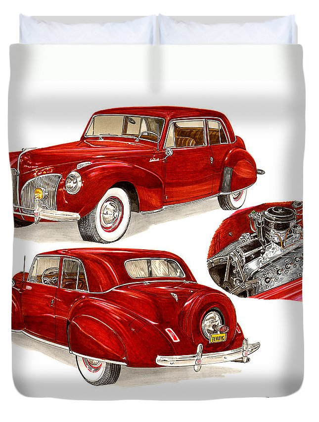 A Jack Pumphrey Watercolor Painting Of A 1941 Lincoln Continental Duvet Cover featuring the painting 1941 V 12 Lincoln Continental by Jack Pumphrey